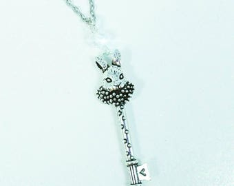 SILVER RABBIT KEY-Crystal Accented Silver Rabbit Key Pendant Charm Necklace.