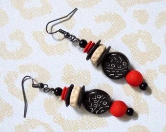 Black, White and Red Ethnic Boho Earrings (3728)