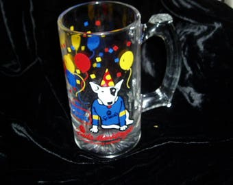 Budweiser Glass Stein Mug SPUD MACKENZIE Party Animal Beer Collectible