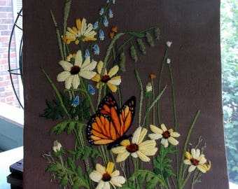Vintage Floral Crewel Needlepoint Yarn Art with Black-eyed Susans Bluebells and a Butterfly