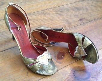 Yves Saint Laurent or coeur talons chaussures sz 37