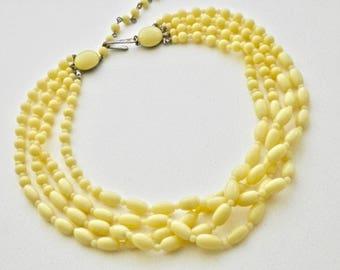 Vintage Beaded Necklace 4 Strand Choker Sunny Yellow Czech Glass Beads 1940's Retro Regency Vintage Costume Jewellery