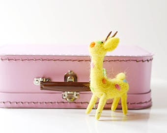 Large Pink Paper Suitcase with Felted Animal