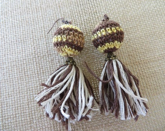 Brown Striped Crochet Wrapped Bead And Tassel Dangling Statement Earrings