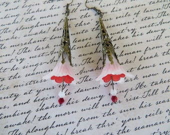 Red And White Lucite Flower Drop Earrings With Crystals