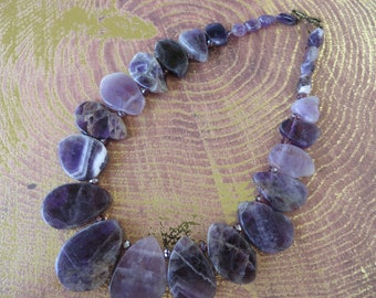 Amethyst Slice And Nugget Beaded Statement Necklace