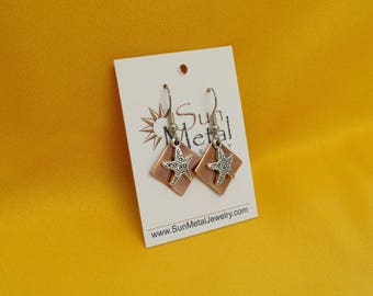 Starfish copper and silver earrings (Style #488)