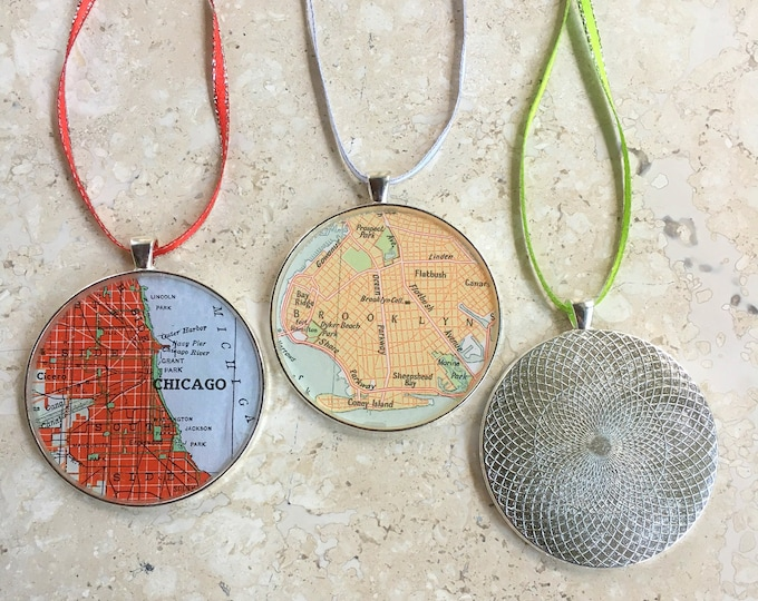 Custom Map Christmas Ornaments 50mm Large Size