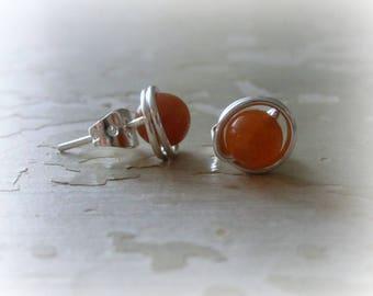 Red Aventurine Studs, Sterling Stud Earrings, Hypoallergenic, Autumn Earrings, Orange Stud Earrings, Natural Stone Studs, Pumpkin Earrings