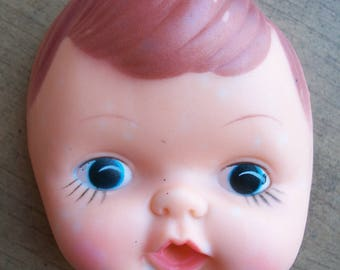 Vintage Plastic Vinyl 4-Inch Baby Doll Head and Hands Set
