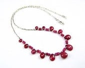 Genuine Ruby Sterling Silver  Necklace - N972