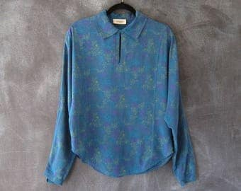 80s Missoni Donna Silk Abstract Print Secretary Blouse Tunic Top Dolman Sleeves Ladies Size 8/M