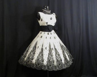 Vintage 1950's 50s Bombshell Black White Floral Flocked Velvet Chiffon Organza Taffeta Bow Party Prom Wedding DRESS