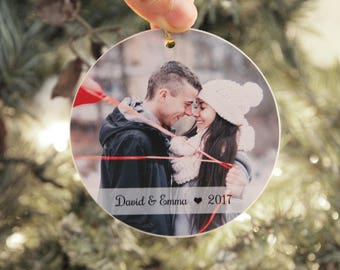 Christmas Ornament, Personalized Photo Ornament, Couple Christmas Ornament, Our First Christmas Picture Ornament