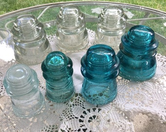 Glass insulators, vintage glass electrical insulators, Hemingray glass insulators