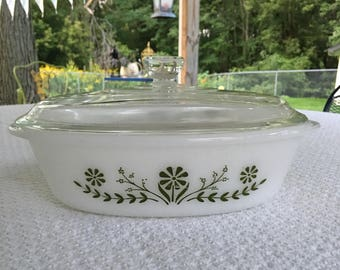 Glassbake casserole, vintage glassbake, green and white glassbake dish