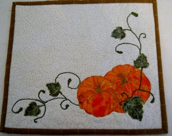 Fall Pumpkins and Leaves Placemat Fiber Art