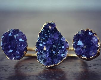 XMAS IN JULY Amethyst Galaxy /// Double Banded Druzy /// Two Finger Ring