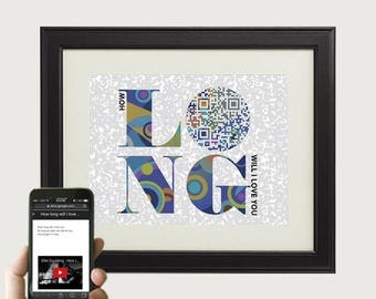 How long will I love you - Ellie Goulding - personalized paper anniversary gift for him - custom first dance song QR code lyric print