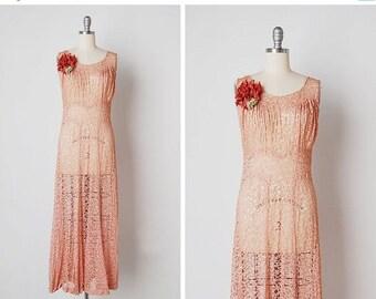 30% OFF SALE vintage 1930s lace / 30s lace maxi dress / pink lace dress / Sevillanas dress