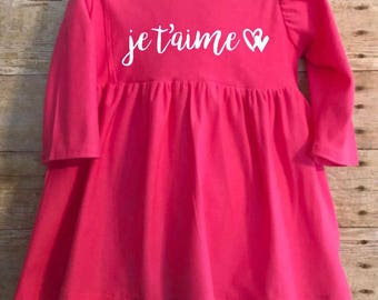 Toddler Girls je t'aime I Love You Valentines Day French Pink Stretchy Knit Dress