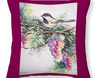 Chickadee on Grapes Decorative Throw Pillow (Watercolor Painting dark pink background)- Gifts for Gardeners, Bird Watchers or Flower Lovers