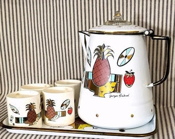 Yearly Big Sale: Vintage Georges Briard Signed MCM 6 Piece Enamelware Coffee Set Pineapple Ambrosia, Mid Century Modern