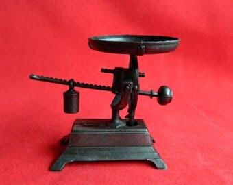 "Vintage Antique Mini Balance Scale Pencil Sharpener - Moving Parts - Die Cast Metal Copper Bronze - 2 1/2"" High - Signed HONG KONG"