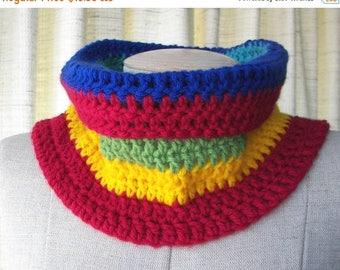 SALE CHUNKY Textured Hand Knit COWL in Rainbow vegan Acrylic