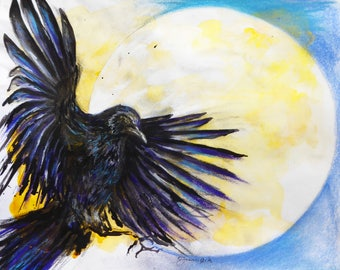 Crow in Flight - archival print