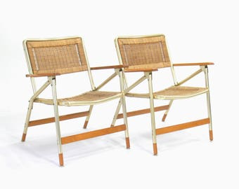 Mid Century Modern Telescope Folding Patio Lounge Chairs (Set of 2)
