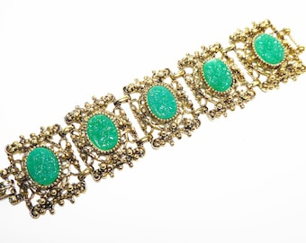 Wide Gold Tone Link Bracelet with Faux Green Jade Oval Lucite Cabochons - Vintage 1950's 1960's  Mid Century Modernist Jewelry