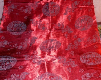Vintage Fabric Silk Asian Dragon Remnant Rich Red