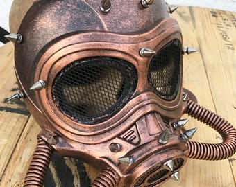 Copper 'MAD MAX' Fury Road Steampunk Festival Masquerade Burning Man Full Face Mask with Spikes and Tubes - A Burning Man Must Have