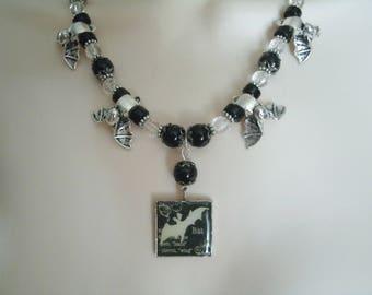 Bat Necklace, gothic jewelry vampire jewelry bat jewelry halloween necklace goth occult witch witchcraft fantasy necklace gothic necklace