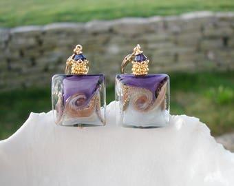 Purple Square Murano Glass Earrings