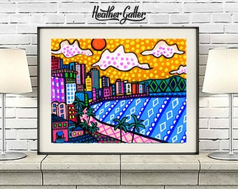 50% Off Today- Honolulu Skyline Art Print Poster of Painting by Heather Galler Waikiki Beach Hawaii City Folk Art