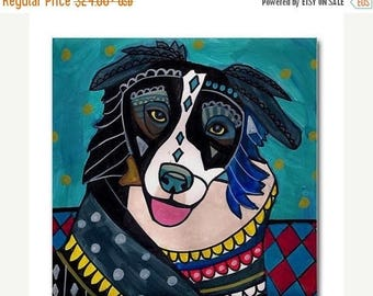 45% Off Today- Border Collie art Tile Ceramic Coaster Print of painting by Heather Galler