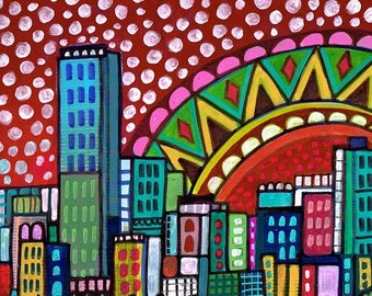 Miami Skyline art Tile Ceramic Coaster Mexican Folk Art Print of painting by Heather Galler City Florida