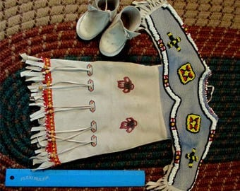 Vintage or antique Native American baby or doll dress and boots