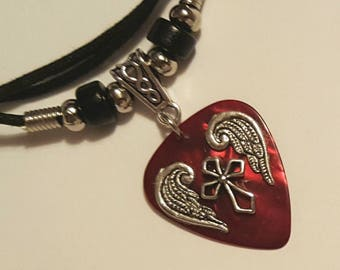 Guitar Pick Necklace - Red Guitar Pick - Cross Necklace - Silver Angel Wings - Christian Jewelry