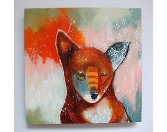Original fox painting whimsical boho abstract mixed media art painting on wood panel 8x8 inches - Sense the moment