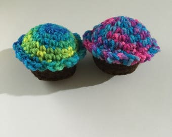 Handmade Crochet Catnip Cupcakes with Organic Catnip - Set of 2