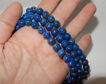 """Lapis Lazuli 8mm round beads- 15"""" strand"""