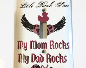 Baby Rock Star Light Switch Cover, Baby Gift, Nursery, Baby rattle, Wings, My Mom rocks, My Dad Rocks, Baby Gift, Nursery