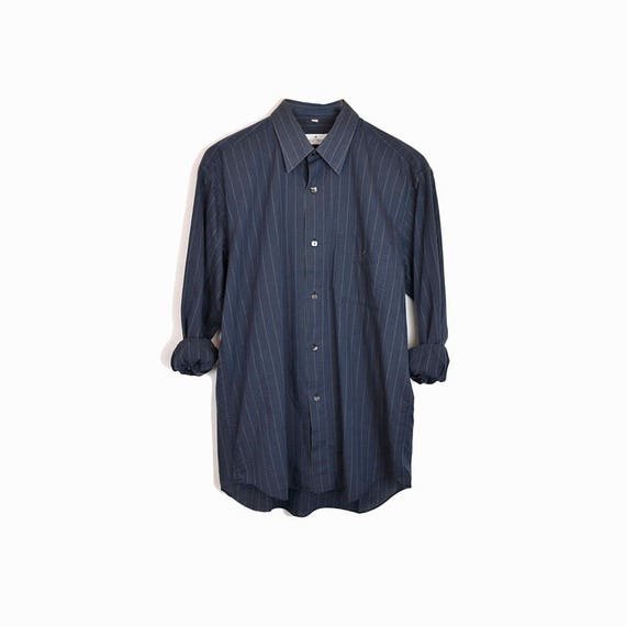 Vintage French Navy Pinstriped Boyfriend Shirt by Courreges Paris - men's medium