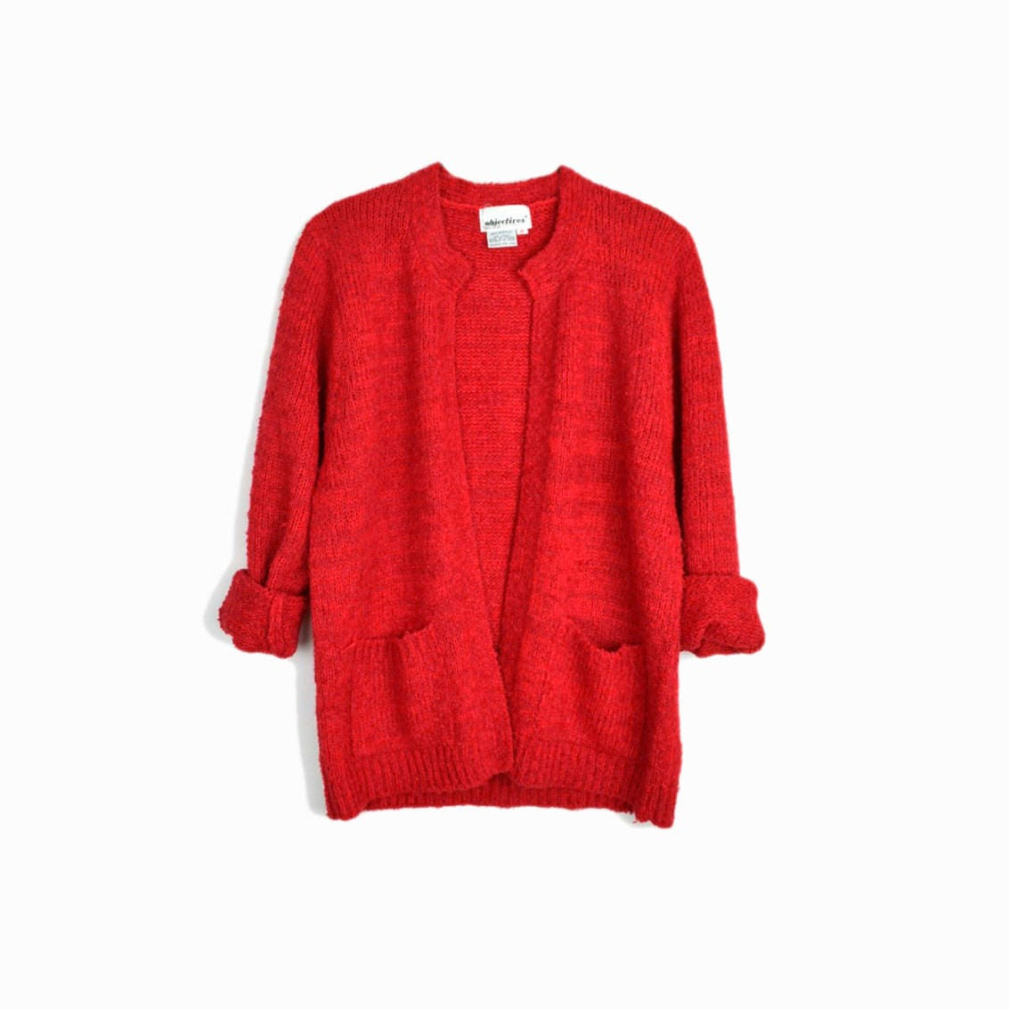 Vintage Red Boucle Sweater / Boucle Cardigan Sweater