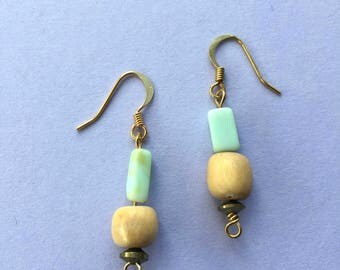 Mint Green Teal Peruvian Opal & Upcycled Vintage Wood Bead Earrings