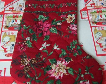 quilted poinsettia christmas stocking