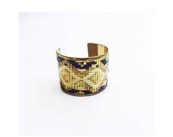 ON SALE Vintage Woven Metals Cuff Bracelet